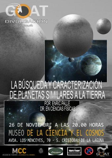 """Cartel de la conferencia del MCC """"La búsqueda y caracterización de planetas similares a La Tierra"""""""