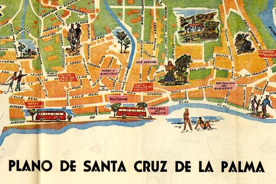 Mapa antiguo de Santa Cruz de La Palma